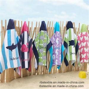 100%年の綿を持つ子供または子供のための反応印刷の浴室のポンチョ浜のポンチョ