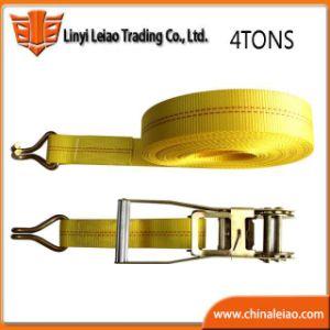 4t de poliéster de color amarillo de amarre de trinquete de amarre de carga