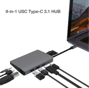 USB 3.1のタイプCへの2xusb3.0A +RJ45/1000m +Minidp+SD/TF+Pd+Audio3.5+HDMI