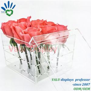Scatola di presentazione del fiore dei fori dell'acrilico 9 con il cassetto