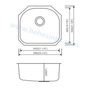 Tazón de una sola barra de Fregadero, lavabo, fregadero de acero inoxidable (6054)