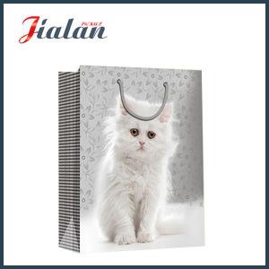 Whosale 싼 광택지는 고양이 디자인 쇼핑 선물 부대를 인쇄했다