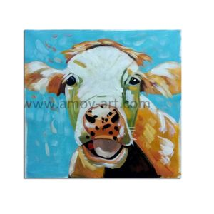 Pitture a olio chiare Handmade all'ingrosso del fronte della mucca dell'olio su Canvas