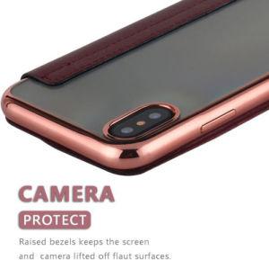 Kippen-Standplatz-Leder-Kasten des Einbauschlitz-TPU für iPhone X