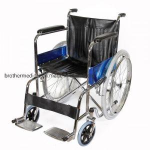 Plegable económica silla de ruedas manual con Chrome Frame