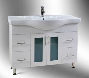 Mdf-Badezimmer-Schrank-Möbel mit grossem keramischem Bassin und Füßen