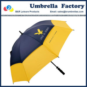 防風の傘のゴルフサイズの二重層ポリエステル繭紬30インチ