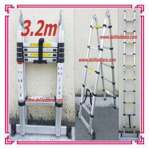 3位置Aluminum Telescopic Extension Ladder 3.2m