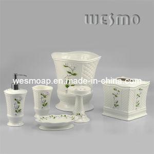 Conjunto de accesorios de baño de porcelana floral (WBC0588B)