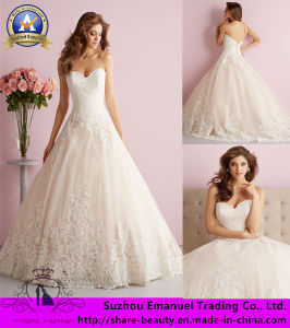 2014 Brand New a-Line White Lace Sweetheart Organza Wedding Dresses Bridal Gowns (MB032)