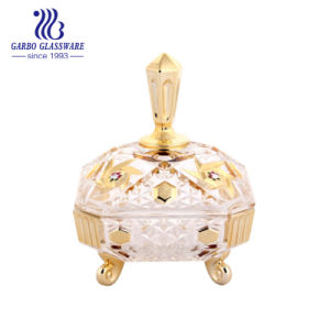 Candy/frutas tigelas de vidro Golden copos e taças de Vidro dourado de Girassol (GB1803R/D)