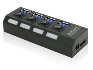 El suministro directo de fábrica de alta velocidad de 4 puertos USB 3.0 hub con el cable de alimentación externa de Puerto de conexión/desconexión