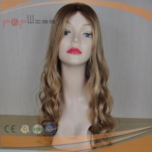人間の毛髪の暗いルート絹の上の女性のかつら(PPG-l-01526)