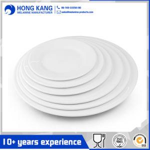 Artículos para el hogar redonda blanca de melamina Plato de plástico
