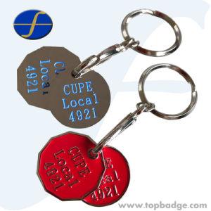 Keychains를 가진 금속 쇼핑 트롤리 손수레 동전