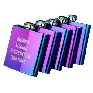 Están ajustadas con láser de acero inoxidable de UV de matraz aforado de cadera de metal de acero inoxidable de 6 onzas de alcohol del vino cerveza Liquar frasco