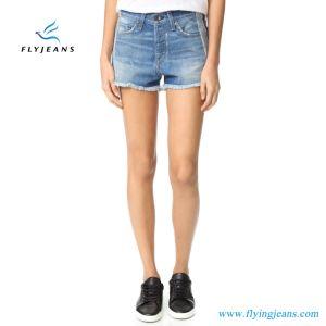Shorts Inside-out scarni blu dei jeans di Minipants del denim delle aggraffature di modo donne/delle signore da Factory
