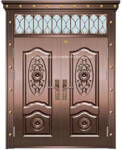 Portello di vetro di rame d'acciaio esterno della doppia finestra decorativa del foglio (W-GB-03)
