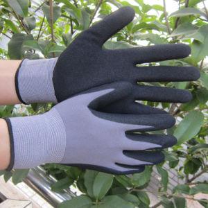 Indicador de 15 Guantes de nitrilo de cruce de arena en el Nylon guante de trabajo