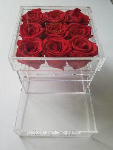 Moderner Luxuxacrylrosen-Kasten mit Fach