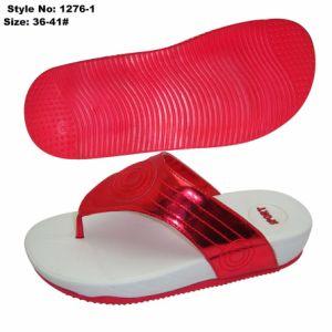EVA augmentant la hauteur des chaussures avecfiltre en coin supérieur de PU, funky femmes Tongs