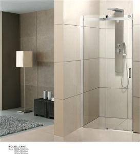 Nuevo diseño de cristal templado sin cerco puerta deslizante de ducha C6001