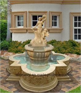 Het witte Marmeren Beeldhouwwerk van het Cijfer voor de Fontein van de Tuin