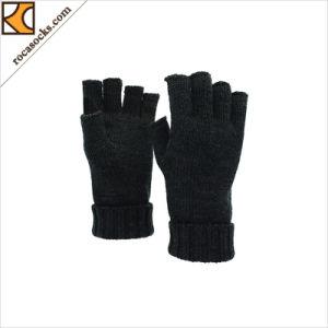 Unisex Fingerless Guantes tejidos de lana merino (167004GE)