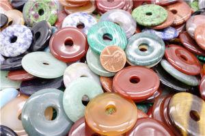 Agate de pierres naturelles 30mm sur plat rond Pendentifs Perles de boucle Ping