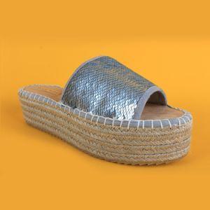 Fancy Fashion femmes Slip-sur les pompes de Sequin Diapositive Silver Espadrille sandale