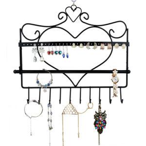 De muur zet Rek van de Tribune van de Vertoning van de Juwelen van de Halsband van de Houder van de Oorring van de Organisator van de Juwelen van de Vorm van het Hart het Hangende op