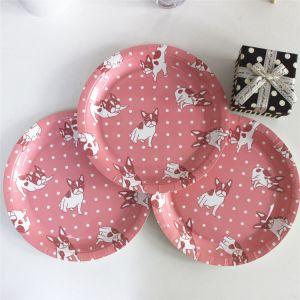 Nouvelle conception de la plaque de papier rose 7 18cm