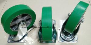 8 Евро в общей сложности для тяжелого режима работы тип тормоза алюминиевых Core PU самоустанавливающееся колесо (Белый цинк покрытие)
