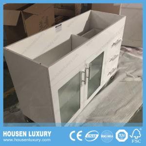 Kann Belüftung-oder MDF-materielles grosses Bauch-Bassin-weißer Lack kundenspezifischer bereiftes Glas-Tür-Badezimmer-Schrank HS-S1102-1200 sein