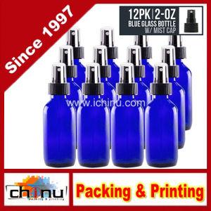 2 Oz - bleu de cobalt Boston bouteille en verre rond avec une fine brume la buse de pulvérisation 60 ml - pour Hydrosol, cosmétiques, de la médecine, cuisine, salle de bains, d'huiles, parfum, lab