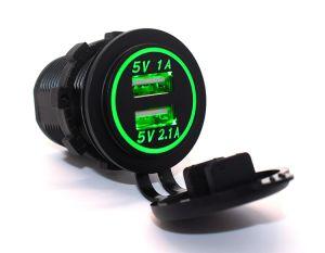 De dubbele Afzet van de Macht van de Contactdoos van de Lader USB 1A & 2.1A voor Mobiele de Marine van de Boot van de Auto