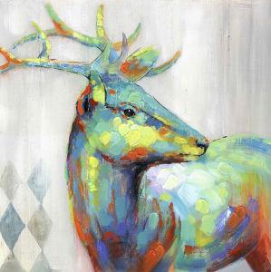 Pittura a olio dipinta a mano animale sveglia di colore moderno per arte della parete