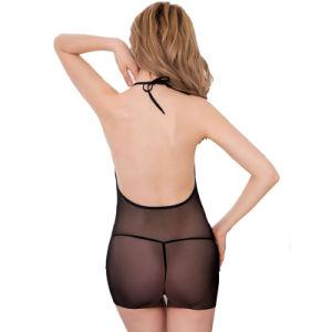 Lingerie sexy de Chemise transparent élégant noir de maille