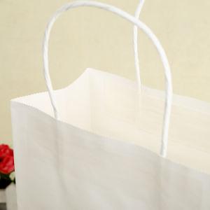 주문 로고 백색 Kraft 종이 쇼핑 백