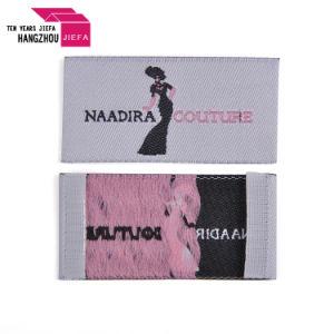 Lavable profesionales Nombre de marca de lujo de Damasco plegado final Etiquetas tejidas para ropa