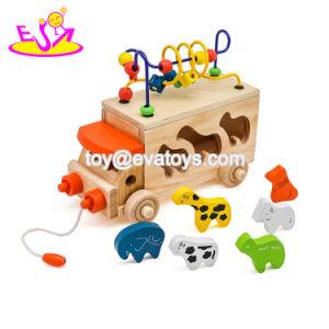 Jouet éducatif jouet Pull et Push pour les enfants, jouet en bois jouet de bricolage pour les enfants, String talon bloc de bois Jouet Jouet pour bébé W05b074