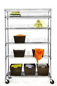 Almacenamiento de 6 capas de estantería móvil Servicio de lavandería rejilla de alambre con 5 ruedas''.