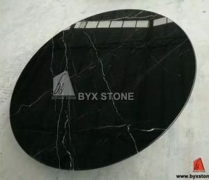 Tabella di pranzo di pietra rotonda interna di marmo nera di Marquina