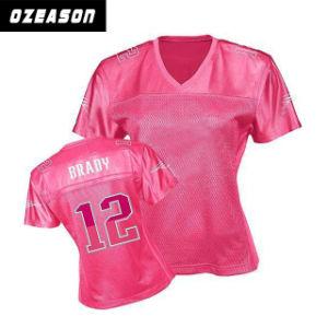 Venda por grosso de vestuário mulheres personalizada camisola de futebol  americano-de-rosa c3d5814a4dea7