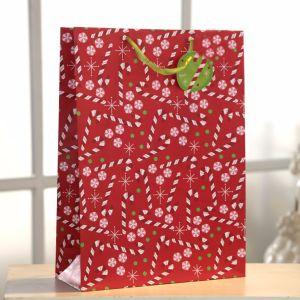 Sac de papier cadeau rouge, sac de papier personnalisé, sac de poignée