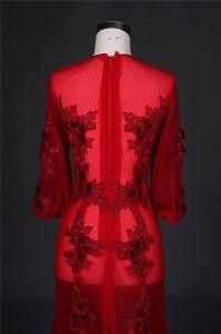 De douane maakt de Rode Meermin van Tulle In het groot Avondjurken kleden