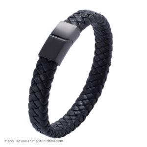 Fecho magnético preta presente de promoção homens bracelete de couro trançado Jóias