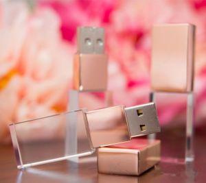 Azionamento a cristallo 32GB 64GB del USB di memoria Flash del USB di marchio 3D di alta qualità dell'oro su ordinazione della Rosa