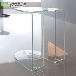 Tabella di notte di vetro curva con i cassetti di legno dell'impiallacciatura della noce