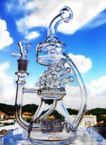 Neueste Hbking Glaspfeife-Recycler-Matrix Batterl GlasHuka-Ölplattform-Glaswasser-Rohr